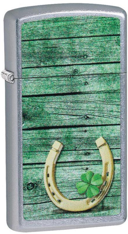 Zippo Lighter Green Slim Horseshoe Design Street Chrome Made In The USA 14088