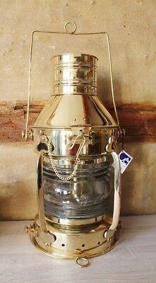 Bootslampe Schiffslampe Ankerlampe ca. 48 x Ø 22 cm Messing mit Petroleumbrenner