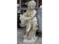 Reconstituted Stone Garden Statue Of A Boy Flower Seller