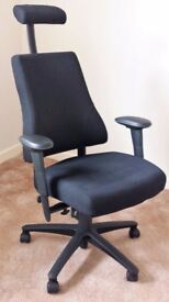 Axia Plus high back ergonomic chair with factory fitted extras in black.