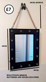 hanging mirror rope hollywod led lights batteries included quirky industrial style bathroom bedroom