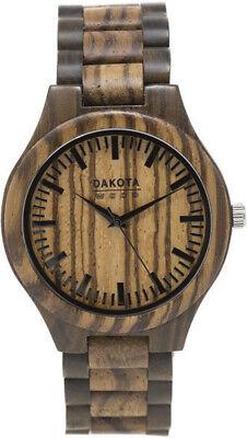 Dial Japanese Quartz Movement - Dakota Zebrawood Dial & Band Japanese Quartz Movement Wood Watch 2638