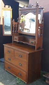 Antique Edwardian Walnut Dressing Table Chest With Drawers And Triptych Mirrors Dresser
