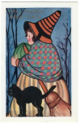 HALLOWEEN POSTCARD, PUBLISHED BY WHITNEY, LARGE GIRL WITCH HOLDING WATERMELON](Halloween Witchs)