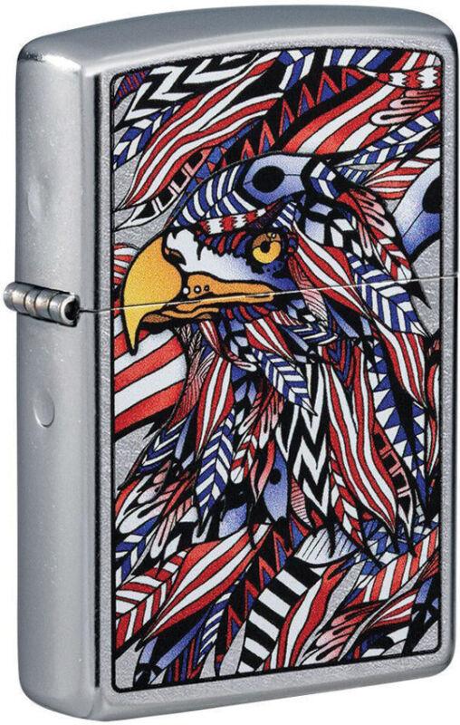 Zippo Lighter American Eagle Design Street Chrome Made In The USA 16607