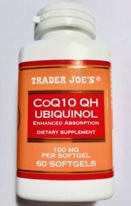 Trader Joe's CoQ10 UBIQUINOL Enhanced Absorption 100mg 60 Softgels NEW