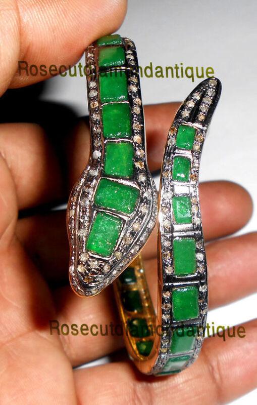 ANTIQUE ROSE CUT DIAMOND 3.58ct SILVER EMERALD ATTRACTIVE SNAKE DESIGN BRACELET