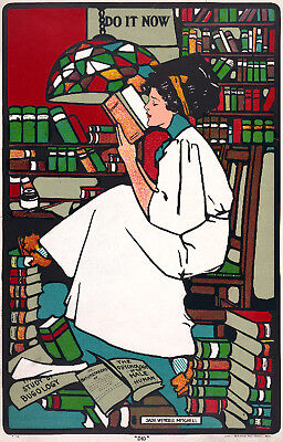 Vintage style art print POSTER.Tiffany Woman Reading.Library Room Art Decor.635