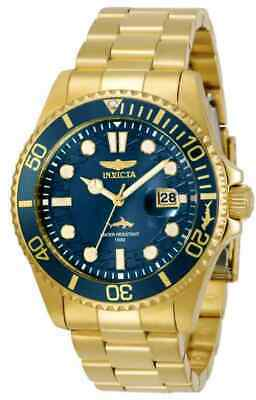 NEW!! Invicta Men's 43MM Pro Diver Quartz 3 Hand Blue Dial Gold-tone Watch