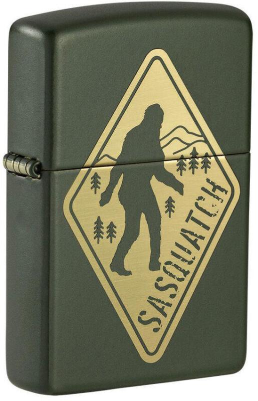 Zippo Lighter Yellow Sasquatch Design Green Matte Made In The USA 16566