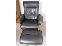 Recliner chairs with foot-stool (leather)