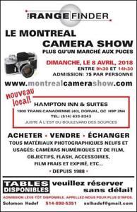 Le Camera Show a Montreal Camera Show, dim le 8 avril, 2018!
