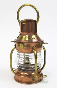 Small Ships Anchor Copper Oil Lamp Lantern 9 Fresnel Lens Nautical Decor