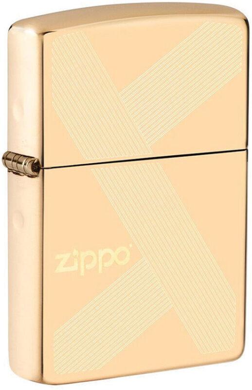 Zippo Lighter Gold Logo Design High Polish Brass Made In The USA 16611