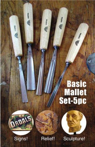 Stubai/Austria wood carving tool MALLET SET 5pc relief sign sharp new  .. SALE!