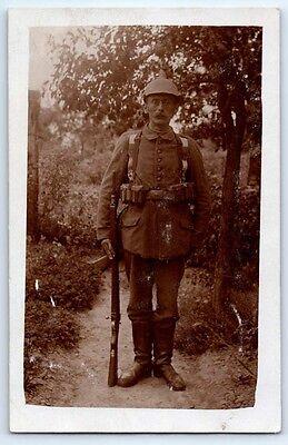 Antique WW1 GERMAN Real Photo RPPC Postcard SOLDIER Pickelhaube Helmet RIFLE