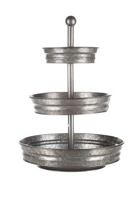 Round Galvanized Metal Serving Stand 3 tier Tray Office Supplies Food Storage](3 Tier Food Stand)