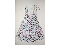 BNWT H&M Girls Dalmatian Polka Dot White & Pink Braced Dress 2-3 Years