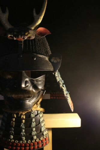 64 KEN KOBOSHI SUJI KABUTO w/MENPO ,SHIGAMI MAETATE (helmet) of YOROI : EDO