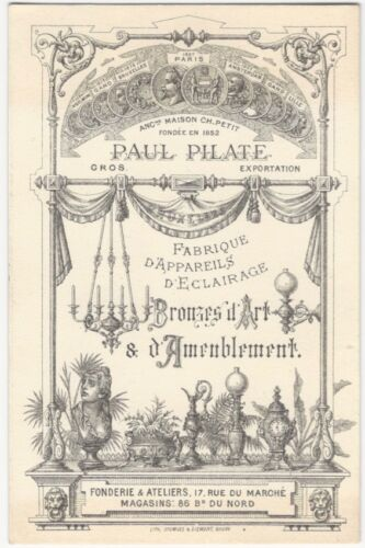 1880s Paris Lighting & Art Bronze & Decorations Manufacturer Trade Card