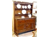 Dark Oak Kitchen Welsh Dresser With Cabinets Drawers And Plate Shelves