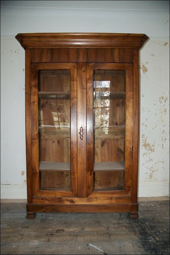 Antique 19th Century French Country Armoire Cupboard With Gl Fronted Doors