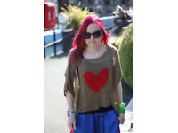 Womens Stunning Unique Green Netted Top With Bright Red Love Heart In The Middle