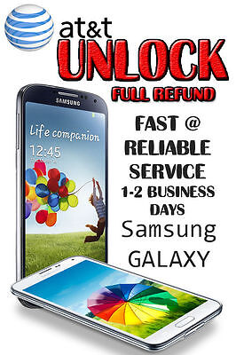 UNLOCK SERVICE/CODE AT&T SAMSUNG GALAXY S2,S3,S4,S5,S6 NOTE 2,3 TAB.CLEAN IMEI.