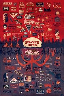 Stranger Things - Upside Down Infographic with Pictograms Poster, Size 24x36