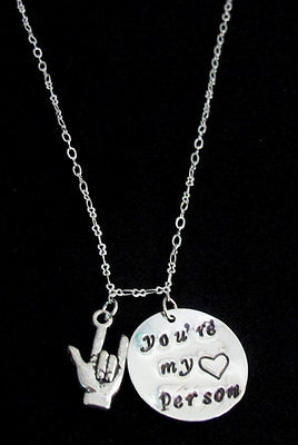 You are my person necklace ASL Jewelry Grey's Anatomy Necklace Best Friend Gift ](Asl Gifts)