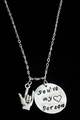 You are my person necklace ASL Jewelry Grey's Anatomy Necklace Best Friend Gift