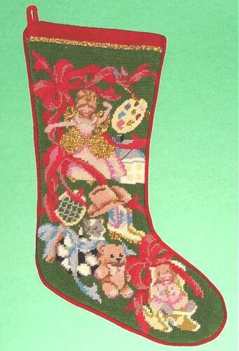 Sferra Needlepoint Christmas Stocking Girls Toys Wool Handmade New