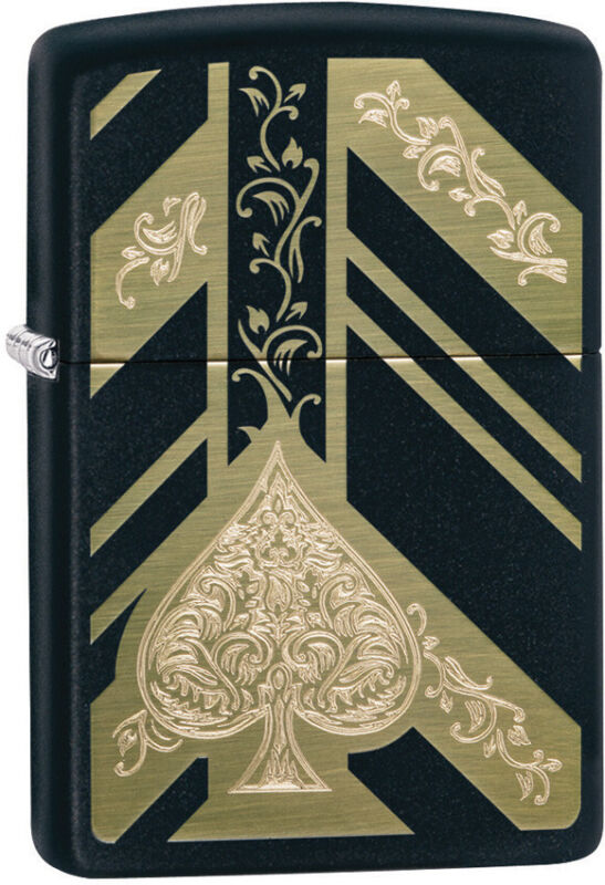 Zippo Ace of Spades Engraved Gold & Black Matte Windproof Lighter 11321