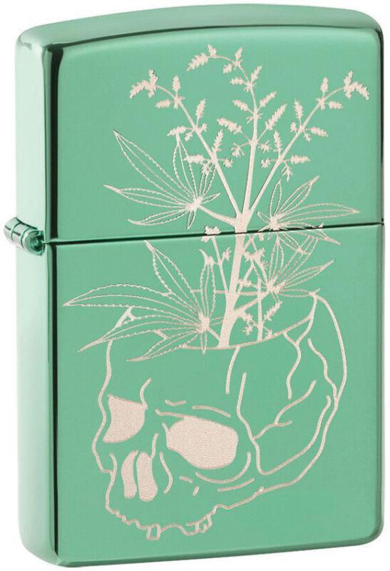 Zippo Lighter Botanical Skull Design High Polish Green Made In The USA 14241