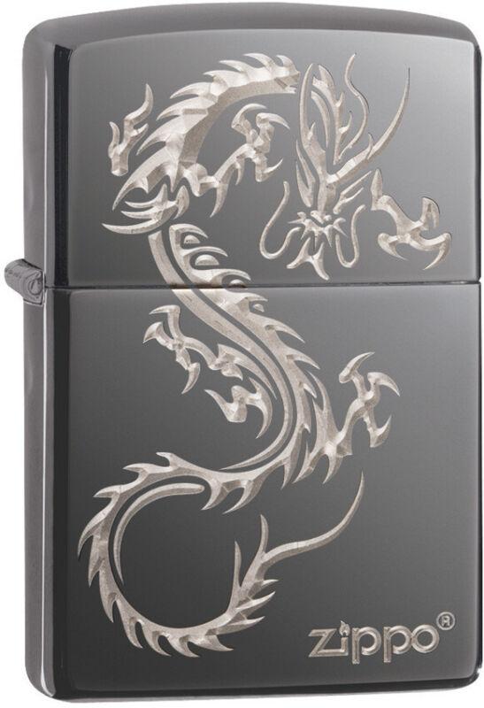 Zippo Chinese Dragon Black Windproof Lighter Black Ice 11420