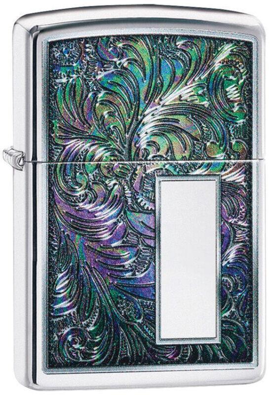 Zippo Lighter Colorful Venetian Design High Polish Chrome Made In The USA 14238