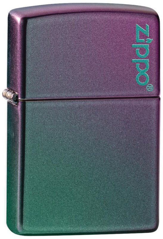 Zippo Lighter Classic Iridescent Logo Turquoise/Violet Made In The USA 14582