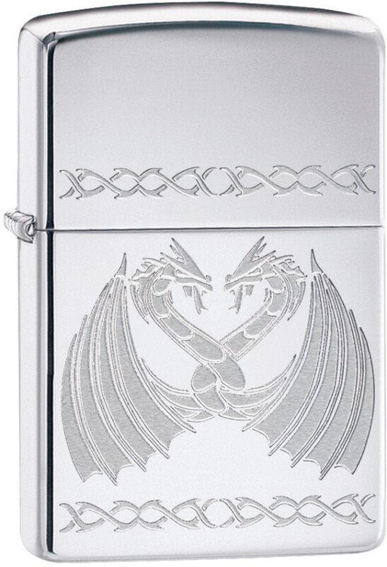 Zippo Dancing Dragons Engraved High Polish Chrome Windproof Lighter 11319