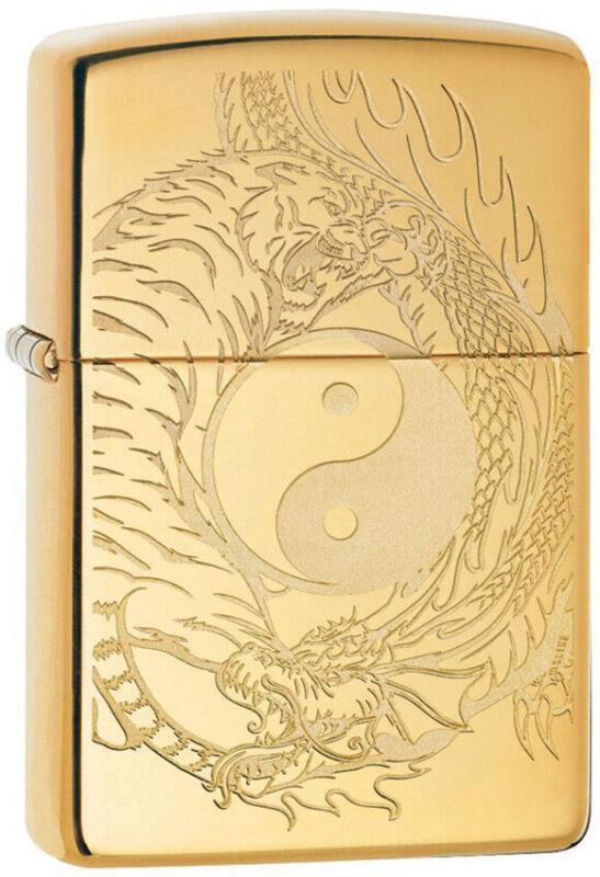 Zippo Tiger Dragon Yin & Yang Polish Brass Gold Windproof Lighter 11352