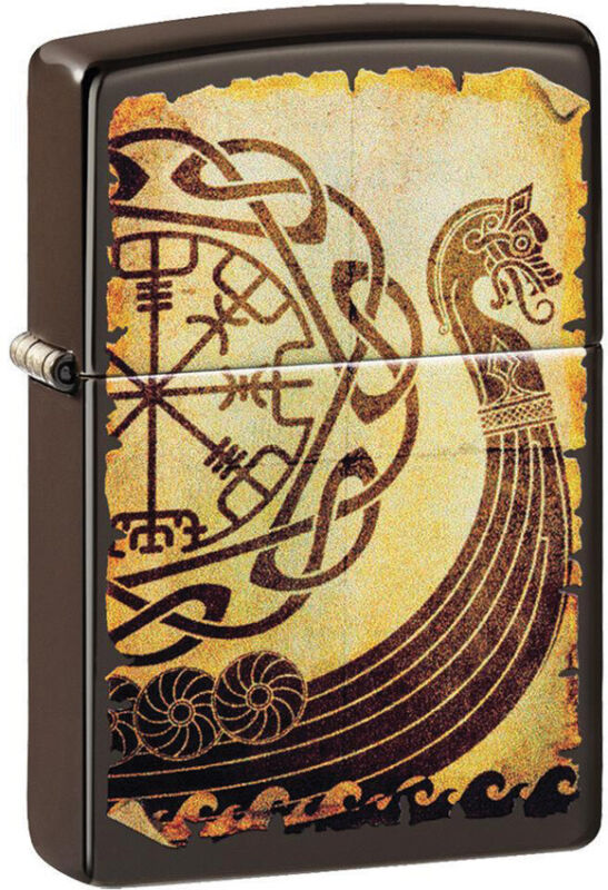 Zippo Lighter Brown Viking Warship Design Made In The USA 14569