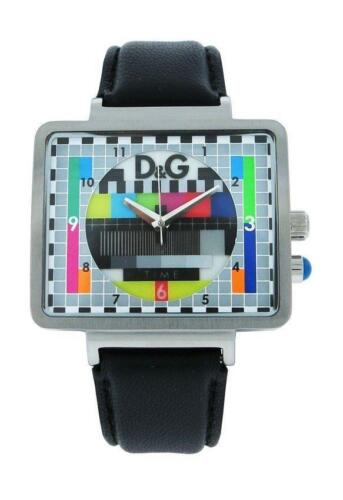 Dolce & Gabbana Time DW0514 Men`s Analog Retro TV Style Black Leather Watch