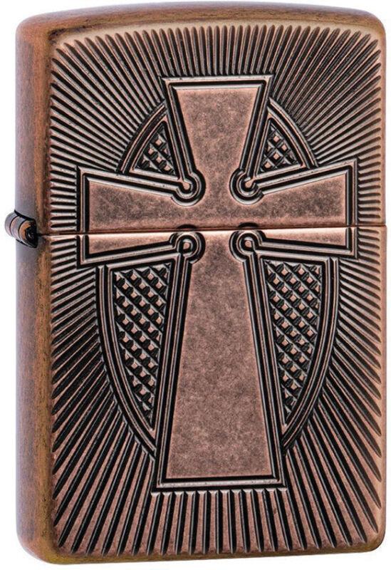 Zippo Lighter Armor Cross Design Antique Copper Made In The USA 14360