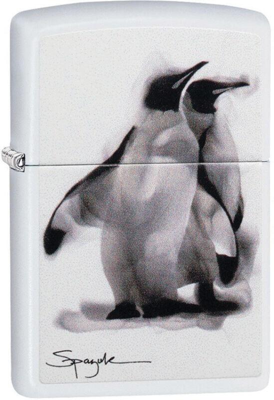Zippo Lighter Spazuk Penguin Design White Matte Made In The USA 13726