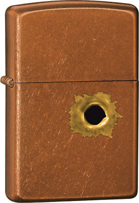 Zippo Windproof Toffee Colored Lighter With Bullet Hole, 24717, New In Box