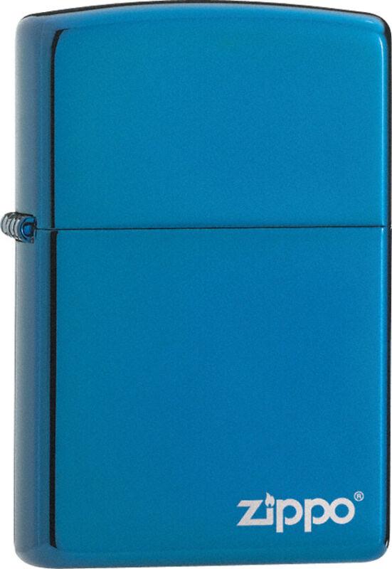 Zippo Lighter High Polish Blue Logo Windless USA Made 19005