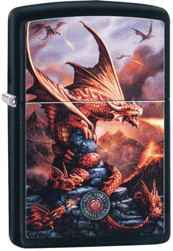 Zippo Lighter Anne Stokes Dragon Design Black Matte Made In The USA 13737