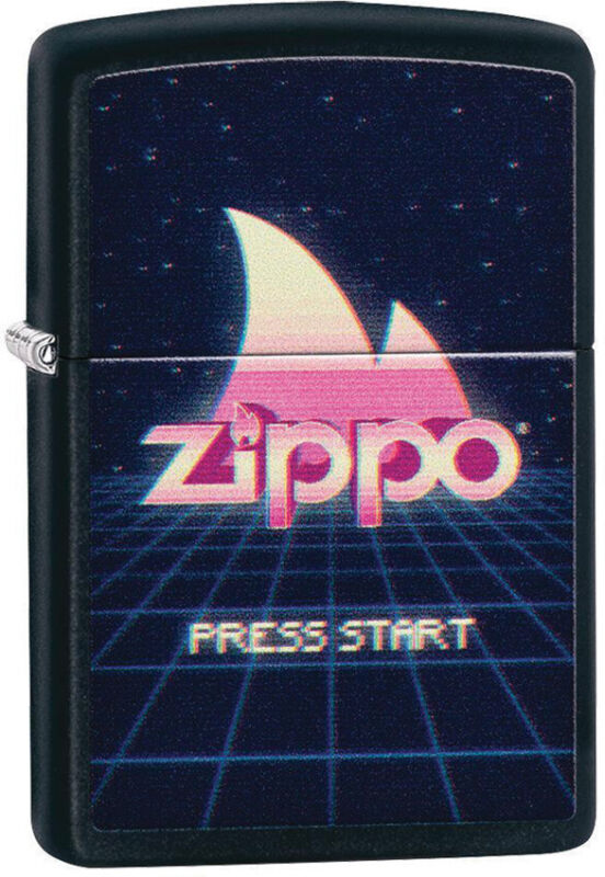Zippo Lighter Pink/Blue Gaming Design Black Matte Made In The USA 14065