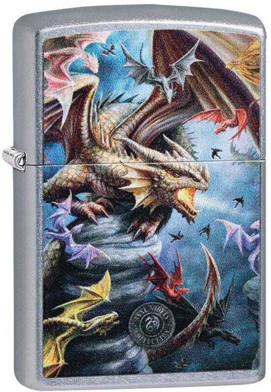 Zippo Lighter Anne Stokes Dragon Design Street Chrome Made In The USA 13828