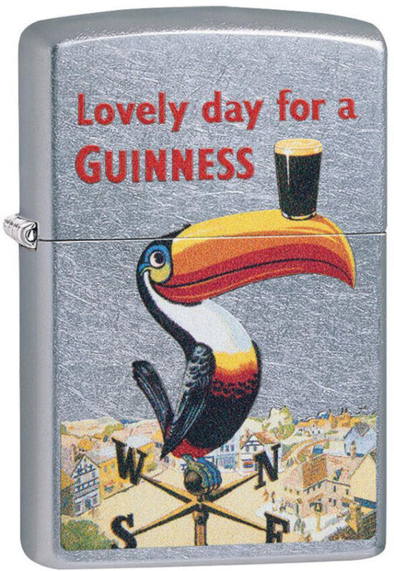 Zippo Lighter Toucan Guinness Design Street Chrome Made In The USA 13733