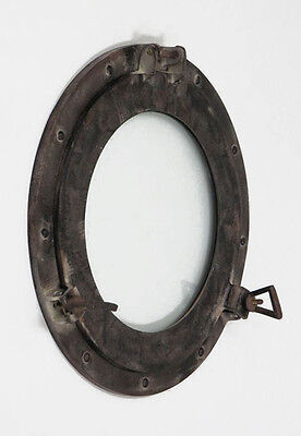 "Aluminum Antique Finish 15"" Ship's Cabin Porthole Window Glass Round Wall Decor"